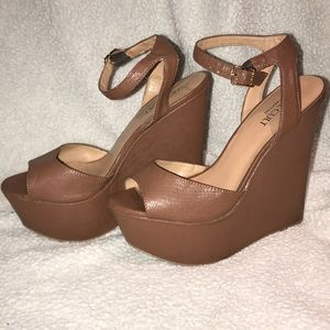 Platform Wedge Shoes with Ankle Strap